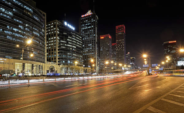 Changan Photograph - Busy Beijing Night - Central Business District by Brendan Reals