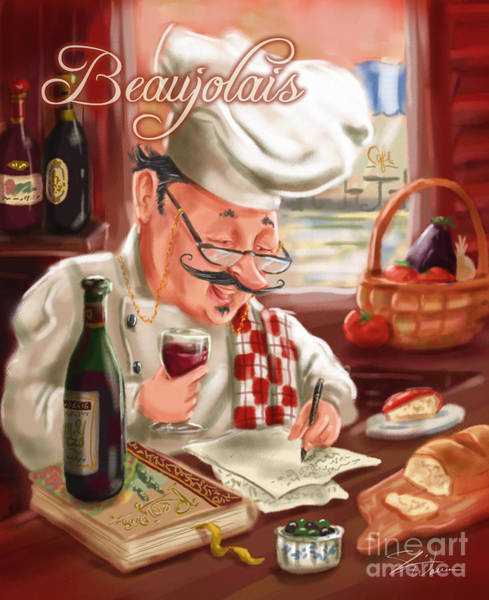 Mixed Media - Busy Chef With Beaujolais by Shari Warren