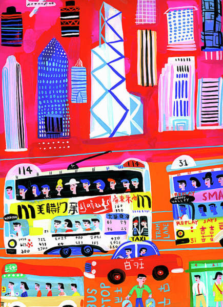 Lifestyles Digital Art - Busy City Street Scene In Hong Kong by Christopher Corr