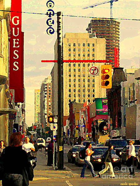 Painting - Busy Downtown Toronto Morning Cross Walk Traffic City Scape Paintings Canadian Art Carole Spandau by Carole Spandau