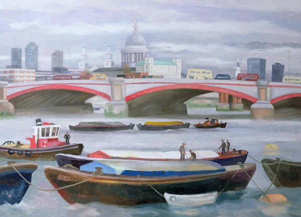 Gloomy Painting - Busy Scene At Blackfriars by Terry Scales