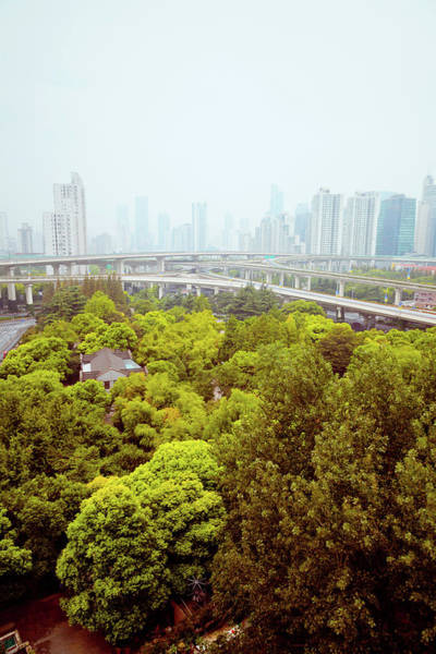 China Photograph - Busy Traffic Over Overpass In Modern by Pan Hong