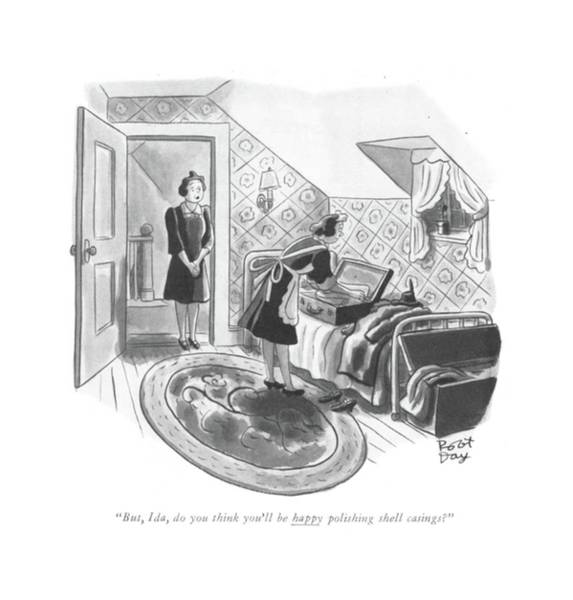 Maid Drawing - But, Ida, Do You Think You'll Be Happy Polishing by Robert J. Day