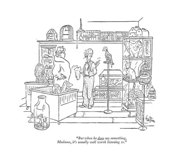 Pet Store Drawing - But When He Does Say Something by George Price