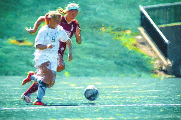 Photograph - Buter University Soccer Athlete Sophie Maccagnone Painted Digitally 2 by David Haskett II