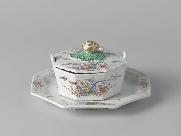 Saucer Drawing - Butter Dish On Saucer With A Lid Topped By A Button by Quint Lox