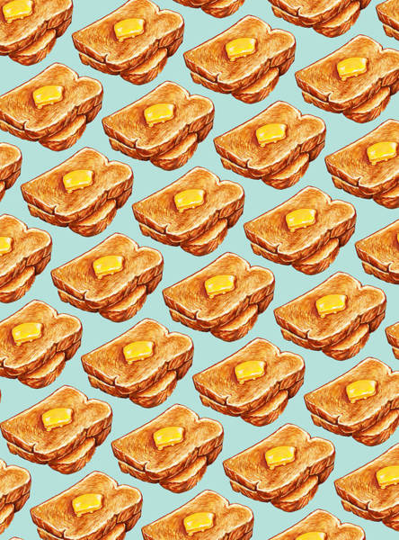 Wall Art - Painting - Buttered Toast Pattern by Kelly Gilleran