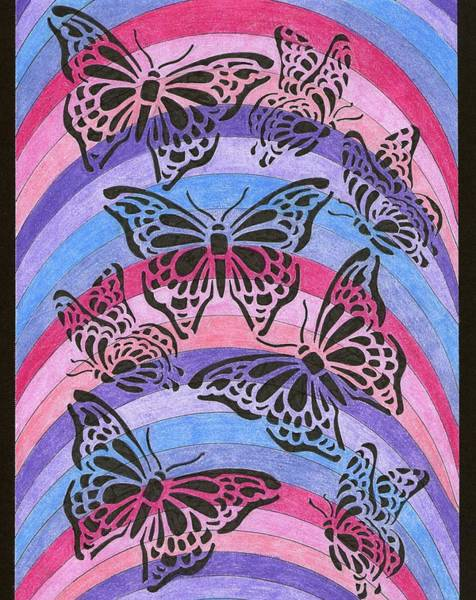 Dark Pink Drawing - Butterflies And Rainbows by Yvette Pichette