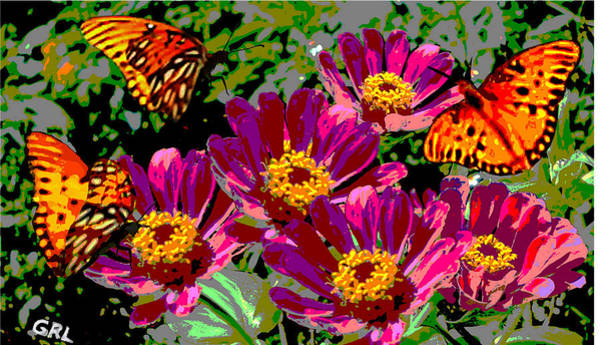 Painting - Butterflies And Zinnias Florida Contemporary Digital Art by G Linsenmayer