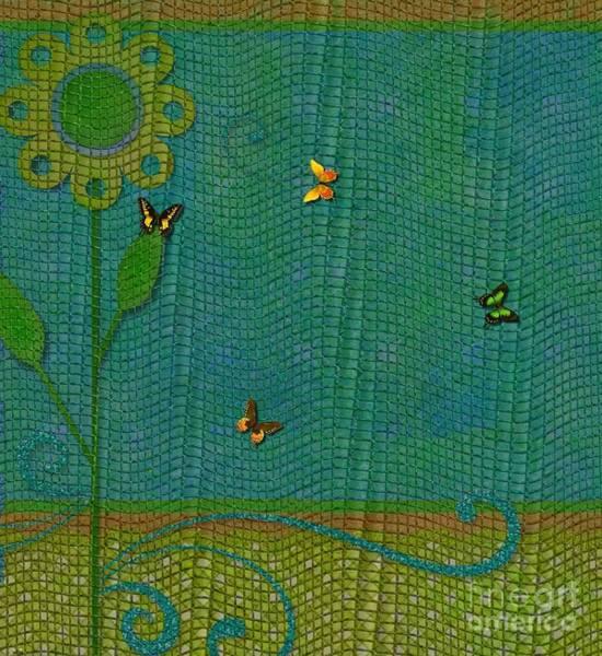Butterfly On Flower Digital Art - Butterflies On Mesh Net - Floral Design by Liane Wright