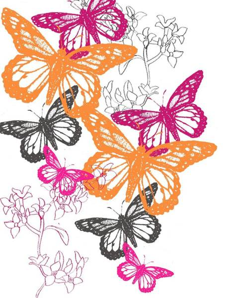 Bright Flowers Mixed Media - Butterfly by Anna Platts