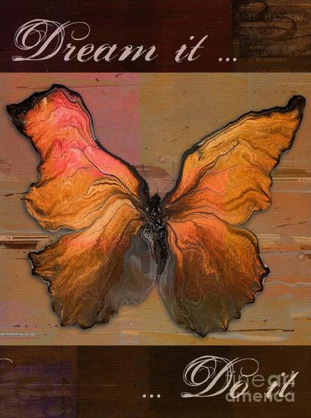 Orange Butterfly Digital Art - Butterfly Art - Dream It Do It - 94at01 by Variance Collections