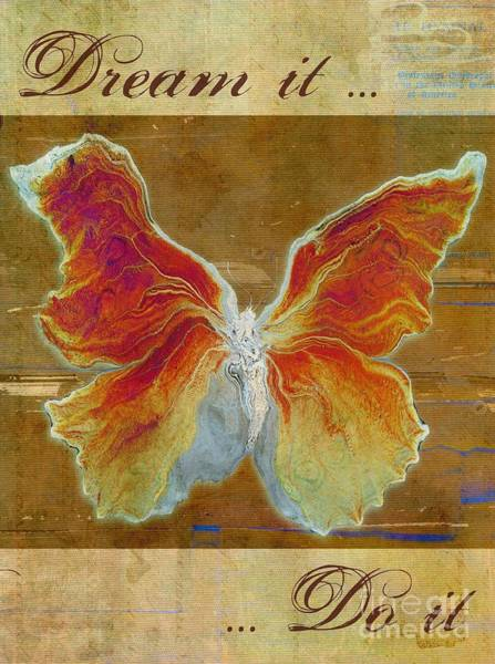 Orange Butterfly Digital Art - Butterfly Art - Dream It Do It - At01 by Variance Collections