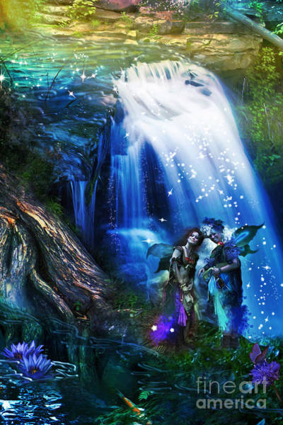 Puzzle Digital Art - Butterfly Ball Waterfall by MGL Meiklejohn Graphics Licensing