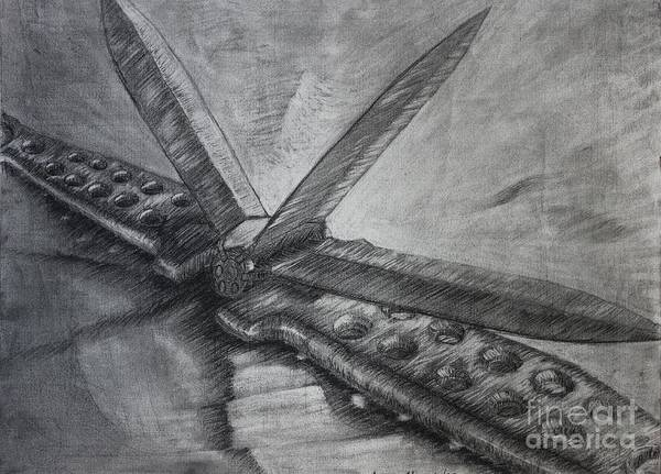 Restaurant Decor Drawing - Butterfly Blades by Lee Alexander