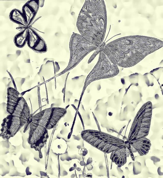 Digital Art - Butterfly Blueprint by Beth Sawickie