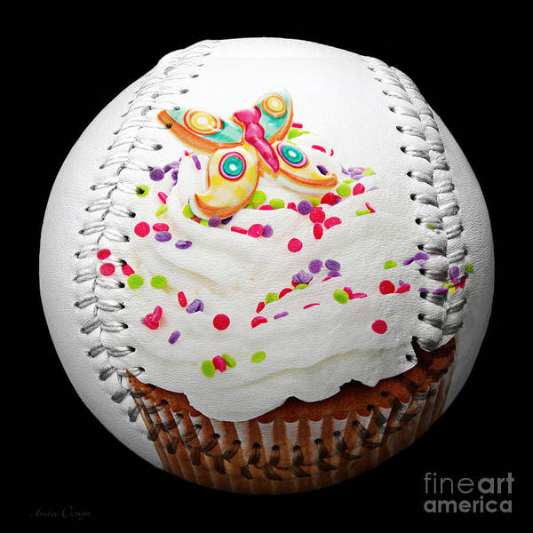 Photograph - Butterfly Cupcake Baseball Square by Andee Design