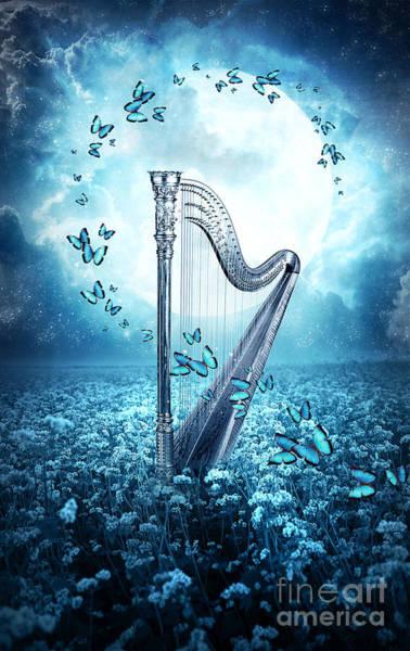 Harp Digital Art - Butterfly Dance by Jessica Allain