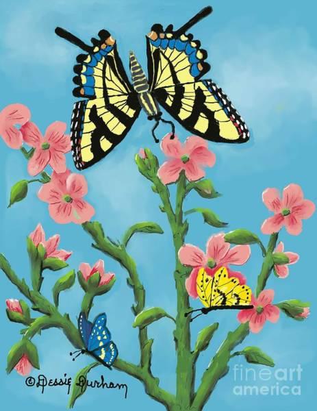 Butterfly On Flower Digital Art - Butterfly by Dessie Durham