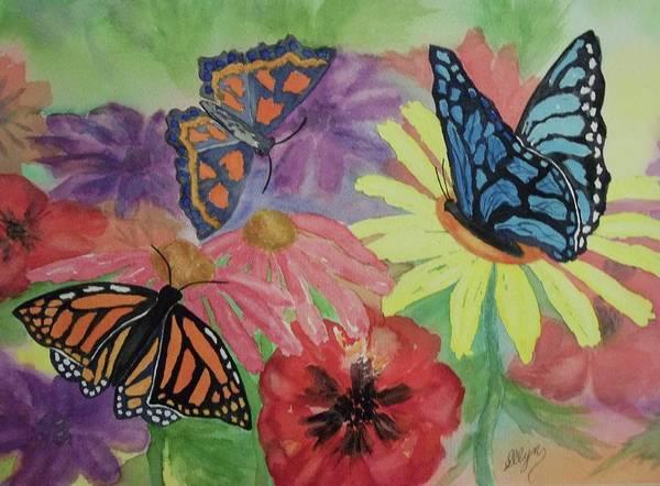 Coneflower Painting - Butterfly Garden by Ellen Levinson