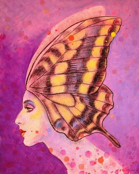 Wall Art - Painting - Butterfly Headdress by Sue Halstenberg