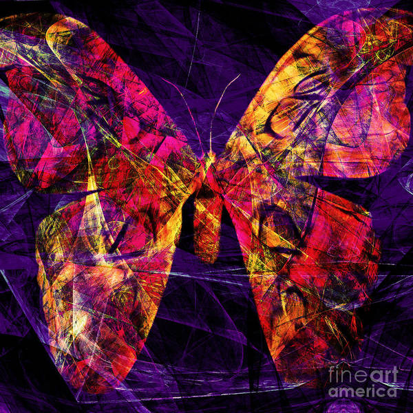 Wingsdomain Digital Art - Butterfly In Abstract Dsc2977 Square by Wingsdomain Art and Photography