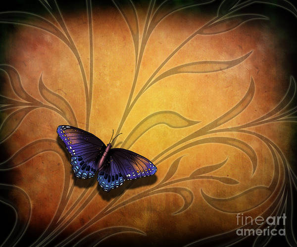 Amber Digital Art - Butterfly Pause V2 by Peter Awax