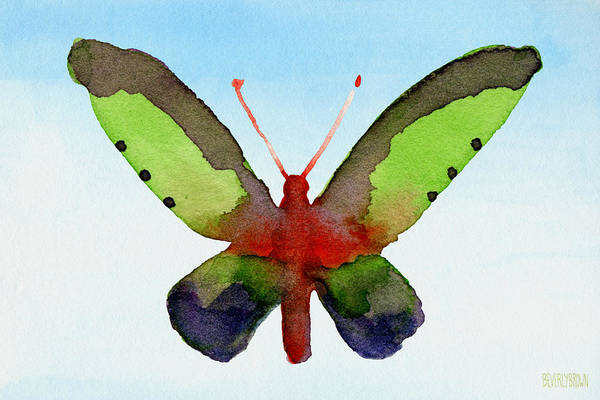 Semi Abstract Painting - Butterfly Purple And Green Watercolor Art Print by Beverly Brown