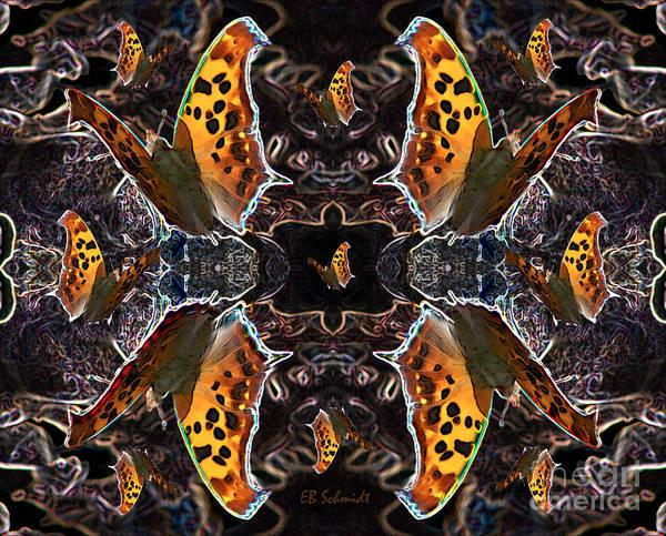 Digital Art - Butterfly Reflections 05 - Eastern Comma by E B Schmidt