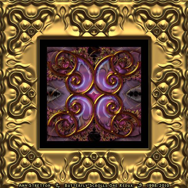 Digital Art - Butterfly Scrolls One  by Ann Stretton
