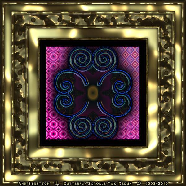 Digital Art - Butterfly Scrolls Two  by Ann Stretton