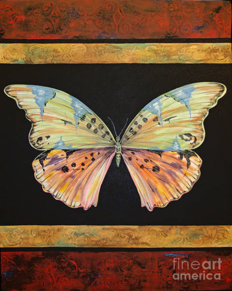 Emboss Wall Art - Painting - Butterfly Tapestry by Jean Plout