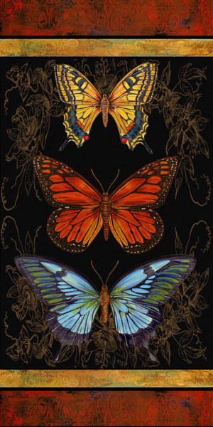 Emboss Wall Art - Painting - Butterfly Treasures-willa Belle by Jean PLout