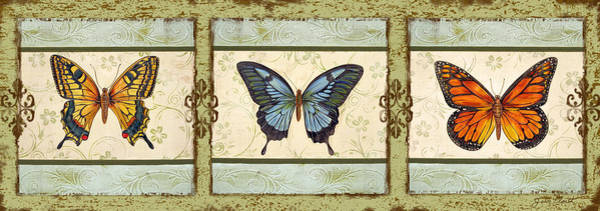 Yellow Ribbon Painting - Butterfly Trio-3 by Jean PLout