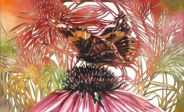 Painting - Butterfly With Coneflower by Alfred Ng