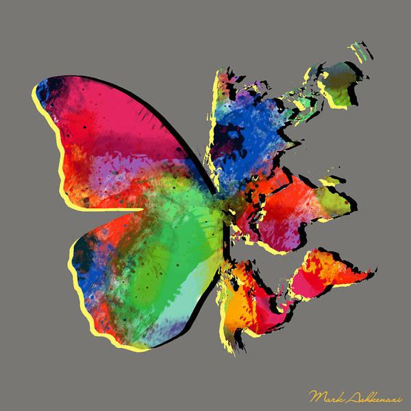 Work Of Art Digital Art - Butterfly World Map 2 by Mark Ashkenazi