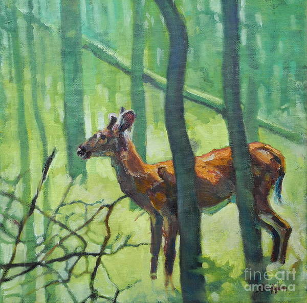 Painting - Button Buck by Patricia A Griffin