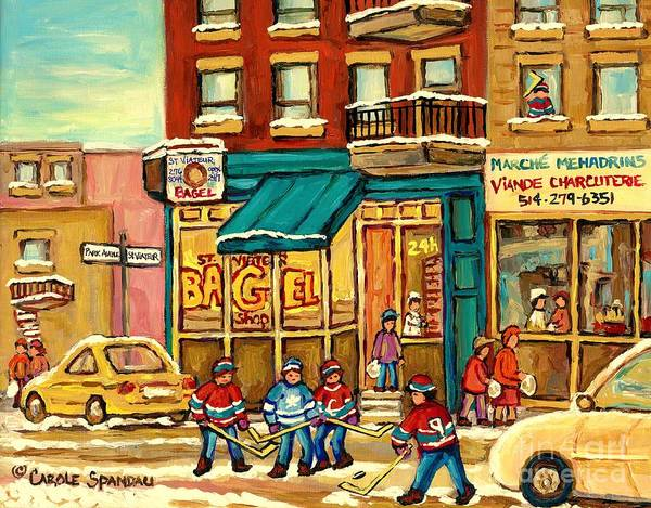 Painting - Buy Original Montreal Art Yummy St. Viateur Bagels Hockey Game Beautuful Winter Art Carole Spandau by Carole Spandau