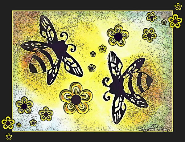 Ontario Mixed Media - Buzy Bees And Daisies by Danielle  Parent