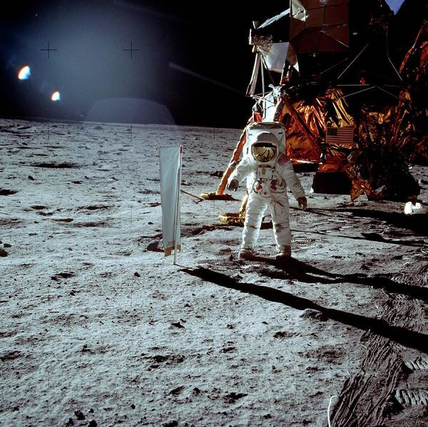Photograph - Buzz Aldrin Walking On The Moon by Nasa/science Photo Library