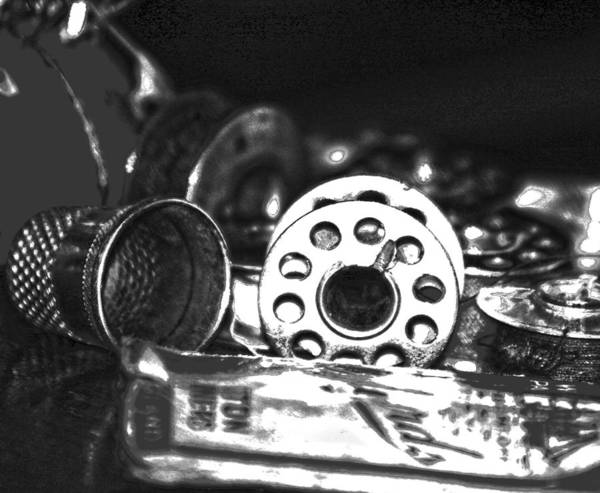 Photograph - Bw Hdr Art Vintage Sewing Still Life 5 by Lesa Fine