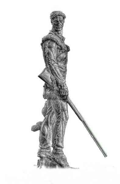 Bw Of Mountaineer Statue Art Print