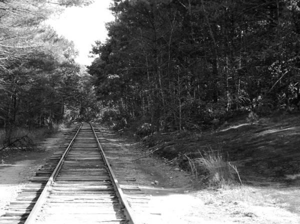 Bw Railroad Track To Somewhere Art Print