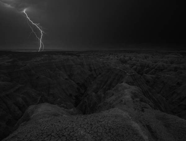 Photograph - Bwcday5  Lightning Badlands  by Aaron J Groen