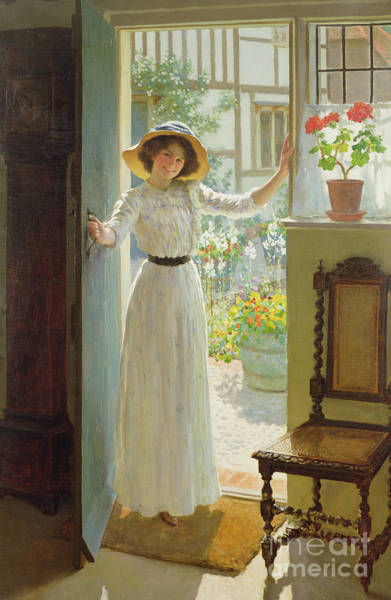 Cottage Style Wall Art - Painting - By The Cottage Door by William Henry Margetson