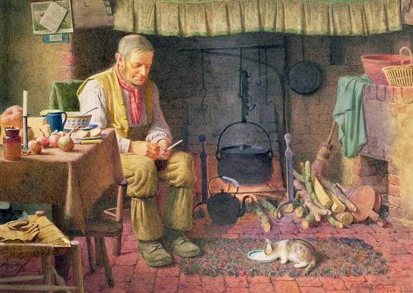 Broom Wall Art - Painting - By The Fireside by Henry Spernon Tozer