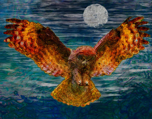 Burrowing Owl Painting - By The Light Of The Moon by Jack Zulli