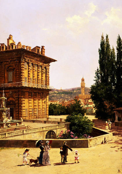 Wall Art - Painting - By The Pitti Palace In Florence by Antonietta Brandeis