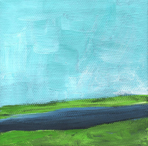 Grass Painting - By The River- Abstract Landscape Painting by Linda Woods