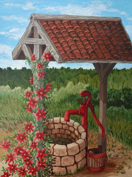 Wall Art - Painting - By The Water Pump by Katherine Young-Beck